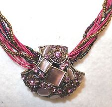 """SHADES of PINK & PURPLE MOTHER of PEARL PENDANT BEADED 17"""" - 19"""" NECKLACE NEW! c"""