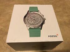 Fossil Q Modern Pursuit Silicone Hybrid Smartwatch FTW1134 Silver w/ Green Band