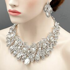 Gorgeous Rhodium Plated Clear Crystal Necklace Earrings Wedding Jewelry Set 4237