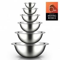 Nutrichef NCMB6PC 6 Piece Stainless Steel Kitchen Metal Mixing Bowls Set