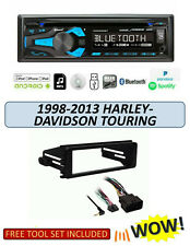 DUAL XDM280BT BLUETOOTH CD MP3 USB Radio, Harley 1-DIN Stereo Kit Fits 1998-2013