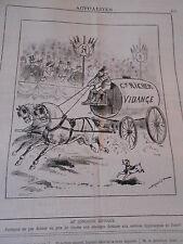 Caricature 1883 Au Concours Hippique prix de vitesse Vidange