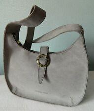 VINTAGE joli SAC épaule CUIR gris peau nubuck semi rigide ARTHUR ASTON bag TBE