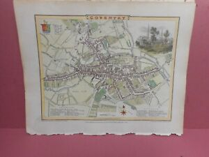 100% ORIGINAL COVENTRY CITY PLAN MAP BY ROPER COLE C1805 VGC HAND COLOURED