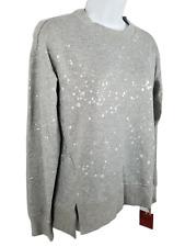 Mossimo Crew Sweater Silver Metallic Splatter Print Grunge Pullover Top Size XS