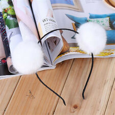 White Faux Fur Ball Headband Head Piece Ladies Girls Lovely Hair Band Jewelry