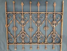 Architectural Salvage Wrought Iron Window Grate with Arrow & Ball Top Finials