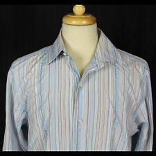 Banana Republic French Cuff Blue Striped Shirt 100% Cotton Sz 16 16.5 L EUC