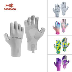 Bassdash Women Sun Protection Fingerless Non-slip Gloves Fishing Cycling UPF50+