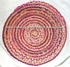 Indian Handmade Braided Jute Cotton Rug Carpet Reversible Door Mat Chindi Shabby