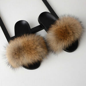 Womens Fox Raccoon Fur Slides Fuzzy Furry Slippers Sliders Slip On Sandals Shoes