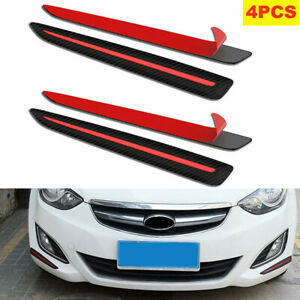 4PCS Car Front&Rear Bumper Carbon Fiber Black Crash Strip Decorative Protectors