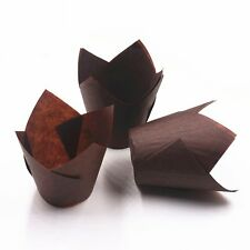 2017 Tulip Baking Cups Paper Cupcake Cake Muffin Cases Liners Brown Disposable