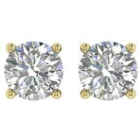 Solitaire Studs Earrings Round Diamond I1 G 1.20 Ct 14K Yellow Gold Screw Back
