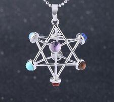 Merkaba Meditation Pendant Natural Stone Reiki 7 Chakra Healing Geometric Hollow