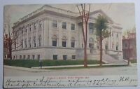 1908 POSTCARD OF PUBLIC LIBRARY OF FORT WAYNE INDIANA TO COLUMBUS OHIO