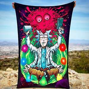 Woke Rick & Morty Meditating Trippy Wall Art Psychedelic Home Decor Tapestry