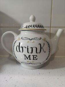 "Lovely ""Drink Me"" Large White Teapot"