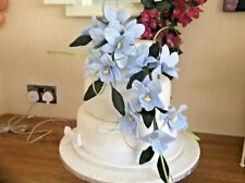 HAND MADE SUGAR ORCHIDS TRAILING TWO SPRAYS IN PALE BLUE, ALSO IN OTHER COLOURS