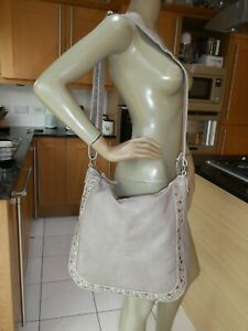 *PAVERS* Ladies Taupe Beige Faux Leather LARGE STUDDED HOBO BAG VGC rrp£38