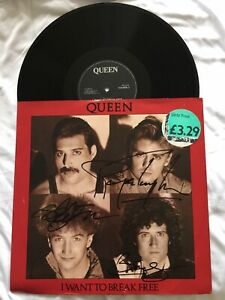 Brian May, John Deacon & Roger Taylor Authentic Signed 12 Inch Queen Vinyl 1