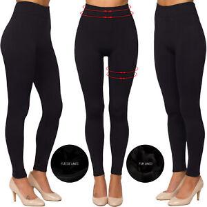 Ladies Women's Black Fur Fleece Lined Stretch Thermal Thick Warm Winter Leggings