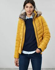 Joules Womens Gosway Chevron Quilt Padded Coat with Hood - CARAMEL