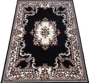 5x8 Area Rug Medallion Woven Carpet Dark Green Black Ivory Actual Size 5'2 x 7'2