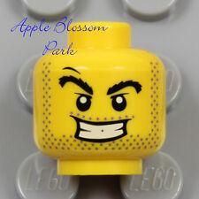 NEW Lego Power Miner MINIFIG HEAD Black Beard Stubble Prisoner White Teeth Smile