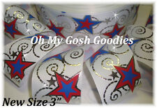"3"" PATRIOTIC STAR BLING SILVER FOIL SWIRLS GROSGRAIN RIBBON JULY FOURTH USA"