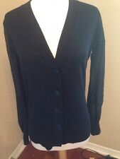 Catherine Malandrino Womens Black Cashmere Silk Sleeves Cardigan Sweater S A112