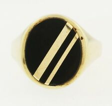 9Carat Yellow Gold Onyx Signet Ring (Size Q) 15x18mm Head