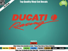 DUCATI RACING DECAL - VINTAGE BIKE, CAFE RACER, STREET BIKE - RED or COLOURS