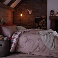 Catherine Lansfield Stag Deer Red Tartan Reversible Duvet Cover Bedding Set