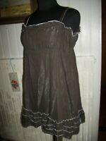 Robe courte bretelles COP COPINE chouchou T.2 38/40 coton marron