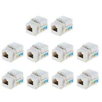 10pc Cat6 5e RJ45 Keystone Jack Ethernet Network LAN Module Punch Down White