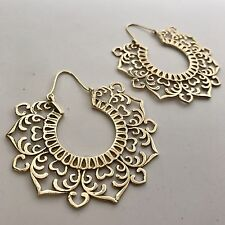 Goddess Tribal Flower Large Flattened Hoop Earrings in Brass