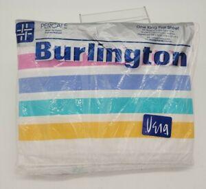 "Vintage Vera Burlington ""Vera's Pulse Points"" King Flat Sheet Pastel NEW 1970s"