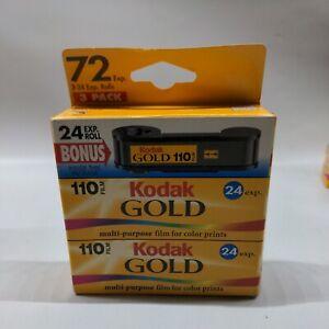 Kodak 110 Film 24 Exp Roll 3-Pack  Expired /2001 New Sealed