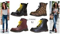Ankle Vintage Boots PU Leather Combat Punk Biker Lace Up Leopard UK Shoes Womens