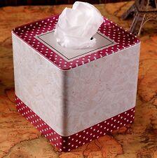Steel Napkin Tissue Serviette Paper Holder Box Gift Red Vintage Cover Car Table