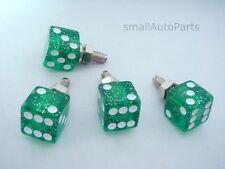 4 Green Glitter DICE License Plate Frame BOLTS Screw Caps for car/truck/minivan