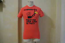 DSQUARED² AWESOME DSQUARED 64 FIGHT FOR YOUR RIGHT TO PARTY ORANGE T SHIRT S S
