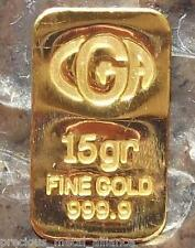 15 GRAIN 24K PURE 999.9 FINE GOLD BULLION MINTED BAR