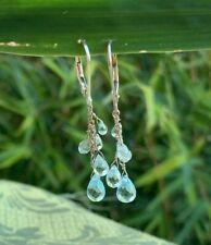 Aquamarine Topaz Zircon gemstone Cluster drop dangle earrings 14k white gold
