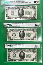 3 Consecutive serial # $20 1928B  PMG 63 EPQ UNC SAN FRANCISCO 1928 DARK GREEN