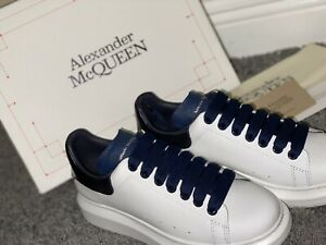 Men's Alexander-McQueen-Oversized Sneaker 8.5 White/Dark Blue