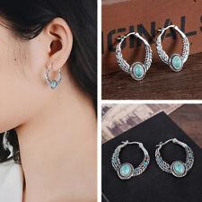 Boho Tibetan Silver Turquoise Dangle Drop Hoop Earrings Women Vintage Jewelry