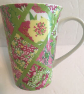"""Lilly Pulitzer Coffee Tea Mug Cup Green Pink Flowers In Diamonds """"Colorful Life"""""""