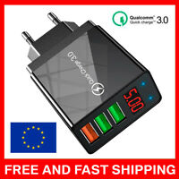 3 USB 48W QC3.0 3.1A Fast Charging Digital Display Wall Charger Adapter LUX